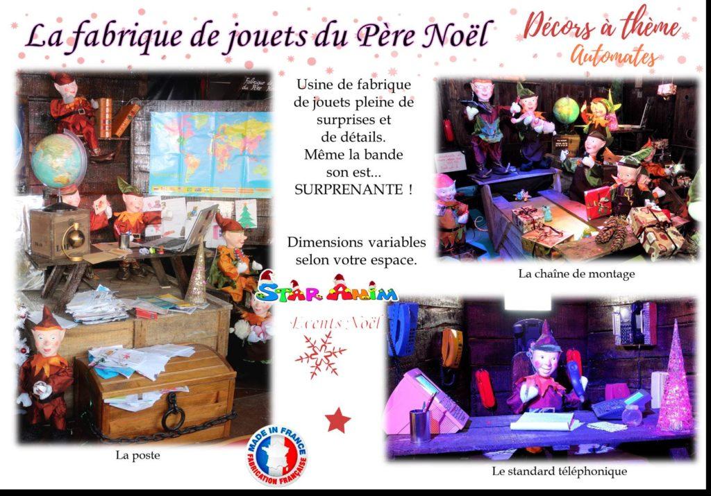 fabrique de jouets du père Noël décors automates